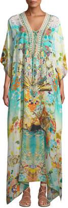 Camilla Printed Embellished Lace-Up Coverup Kaftan