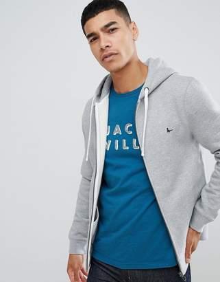 Jack Wills Pinebrook zip-through logo hoodie in gray