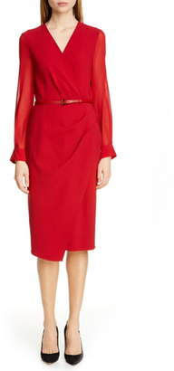 Max Mara Manuel Long Sleeve Faux Wrap Dress