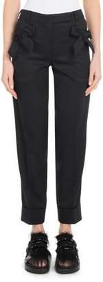 Simone Rocha Bow-Detail Straight-Leg Slim Stretch-Wool Cropped Pants