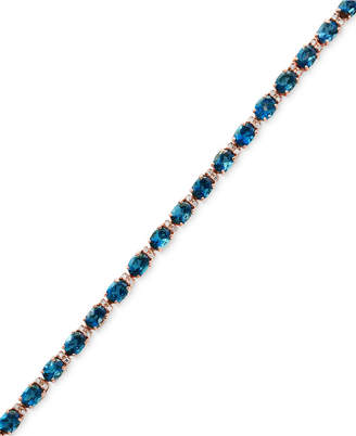 Effy London Blue Topaz (13-1/3 ct. t.w.) & Diamond (1/6 ct. t.w.) Tennis Bracelet in 14k Rose Gold