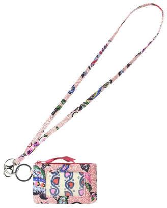 Vera Bradley Stitched Flowers Lanyard/zip-Id
