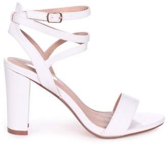 3e8f3be3c55 Linzi Danni White Nappa Block Heeled Sandal With Cross Over Ankle Strap