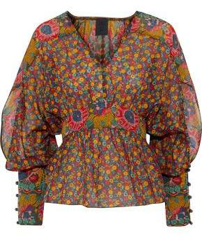 Anna Sui Floral-Print Cotton And Silk-Blend Blouse