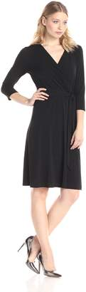 NY Collection Women's B-Slim 3/4 Sleeve Solid Ity Dress