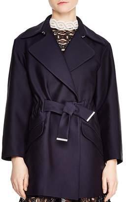 Sandro Marius Spread-Lapel Belted Coat