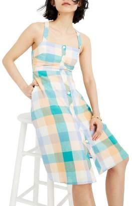 Madewell Rainbow Check Button Front Midi Dress