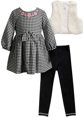 Dollie & Me Girls 4-14 Checkered Dress, Sherpa Vest & Leggings Set & Matching Doll Outfit