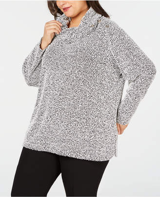 Calvin Klein Plus Size Boucle Cowl-Neck Sweater