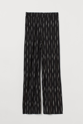 H&M Wide-cut Jersey Pants - Black