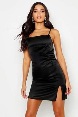 391027fadcb7 boohoo Satin Cowl Neck Split Mini Slip Dress