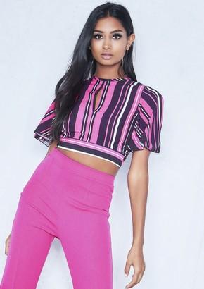 7a917b1dc5e64 Missy Empire Missyempire Marie Pink Stripe T-Shirt Tie Back Crop Top