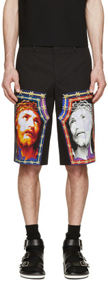 Givenchy Black Jesus Graphic Shorts $745 thestylecure.com