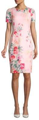 Calvin Klein Short Sleeve Floral Sheath Dress