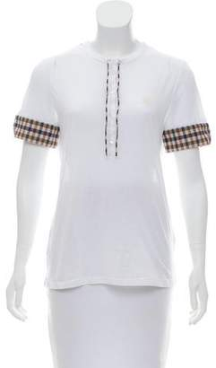 Aquascutum London Gingham-Trimmed Crew Neck T-Shirt w/ Tags