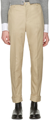 Thom Browne Tan Twill Classic Chino Trousers $670 thestylecure.com