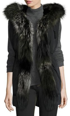 Derek Lam 10 Crosby Fur-Trimmed Hooded Vest, Black $1,000 thestylecure.com