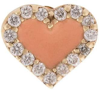 Alison Lou 14kt yellow gold, coral enamel and diamond heart stud
