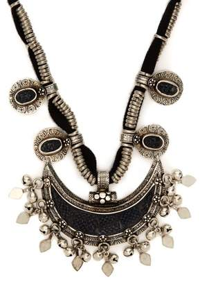 Saint Laurent Crescent Moon Charm Necklace - Womens - Silver