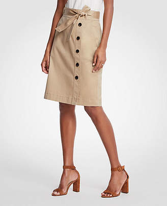 Ann Taylor Curvy Cotton Sateen Button Front Pencil Skirt