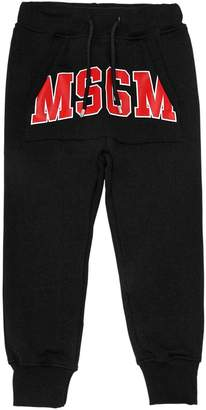 MSGM Logo Printed Cotton Sweatpants