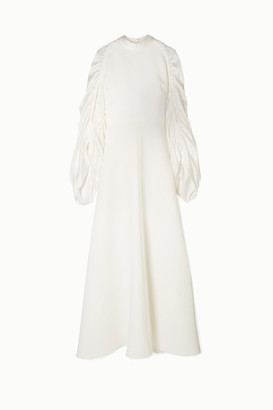 Roksanda Zariah Ruched Silk-blend Crepe And Hammered-satin Gown - Ivory