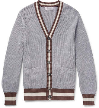 Brunello Cucinelli Striped Cotton-Blend Cardigan