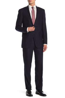 Hart Schaffner Marx Navy Windowpane Two Button Notch Lapel Classic Fit Suit