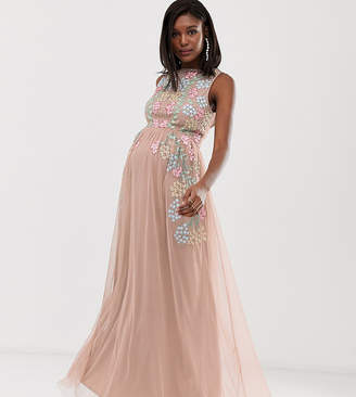 fbafe91e3953d Maya Maternity all over embroidered maxi dress in pink multi
