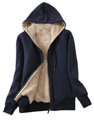 6ed33c9677d0 QD-CACA Womens Winter Warm Fleece Lined Loose Thick Parka Zip up Jacket  Hoodie 2XL