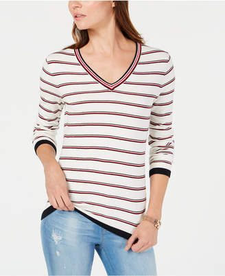 Tommy Hilfiger Cotton Striped V-Neck Sweater