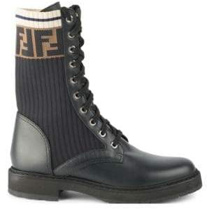 Fendi Rockoko Leather and Knit Combat Boots