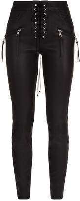 Unravel Lace-Up Leather Trousers