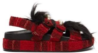 Simone Rocha Embellished Tartan Tweed Platform Sandals - Womens - Black Red