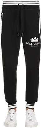Dolce & Gabbana Crown Print Cotton Jersey Sweatpants