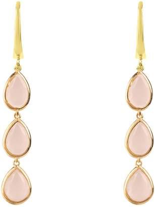 Latelita - Sorrento Triple Drop Earring Gold Rose Quartz