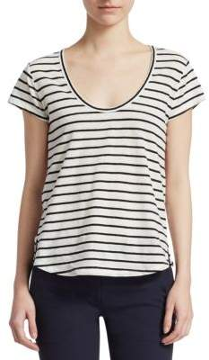 Theory Striped Linen-Blend Tee