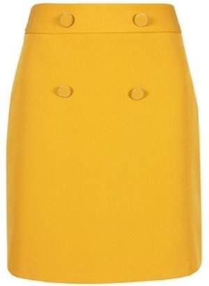 Dorothy Perkins Womens Petite Ochre Button Mini Skirt