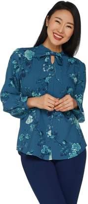 Denim & Co. Floral Print Tie Neck Long Sleeve Blouse