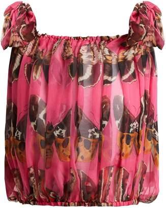 Dolce & Gabbana Butterfly-print silk-chiffon tie-shoulder top