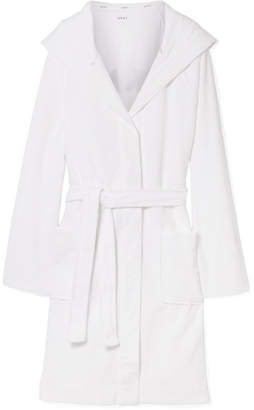 DKNY Hooded Embroidered Cotton-terry Robe - White