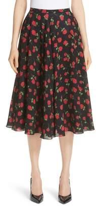 Michael Kors Rose Print Silk Georgette Dance Skirt
