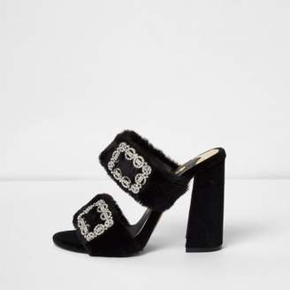 River Island Black faux fur rhinestone buckle heeled mules