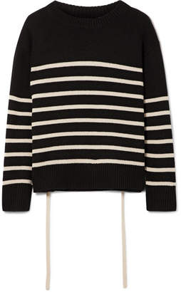 Vince Striped Cashmere Sweater - Black