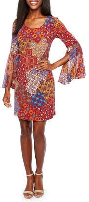 MSK 3/4 Split Sheer Sleeve Patchwork Shift Dress