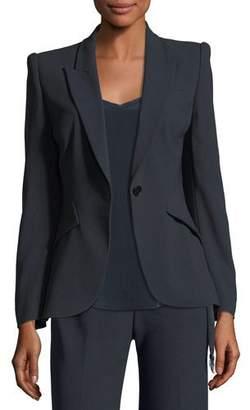 Elie Tahari Allegra One-Button Fluid Crepe Jacket