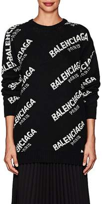 Balenciaga Women's Logo Oversized Wool-Blend Sweater
