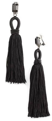 Women's Oscar De La Renta Long Silk Tassel Clip-On Earrings $425 thestylecure.com