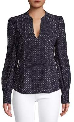 Joie Printed Puffed-Sleeve Blouse