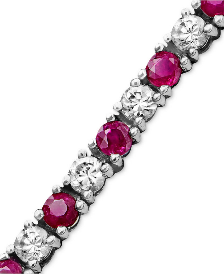 MACY'S Sterling Silver Bracelet, White Sapphire (2-3/4 ct. t.w.) and Ruby (2-1/2 ct .t.w.)